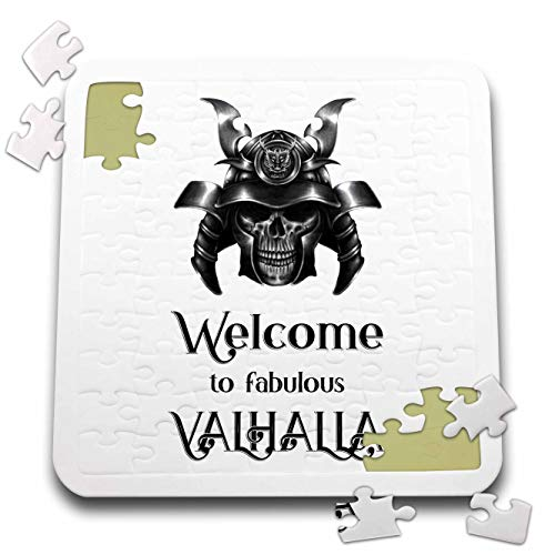 3dRose Alexis Design - Skull - Image of a Human Skull in a war Helmet. Welcome to Fabulous Valhalla - 10x10 Inch Puzzle (pzl_292310_2) -