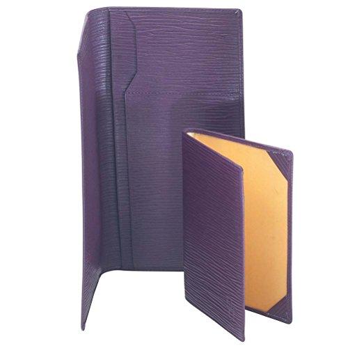David Hampton Luxury Leather Slim Travel Wallet Aubergine Oak Grain by David Hampton