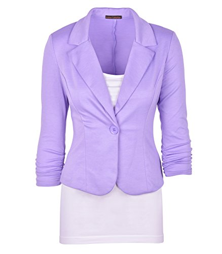 Auliné Collection Women's Casual Work Solid Color Knit Blazer Lavender 3X