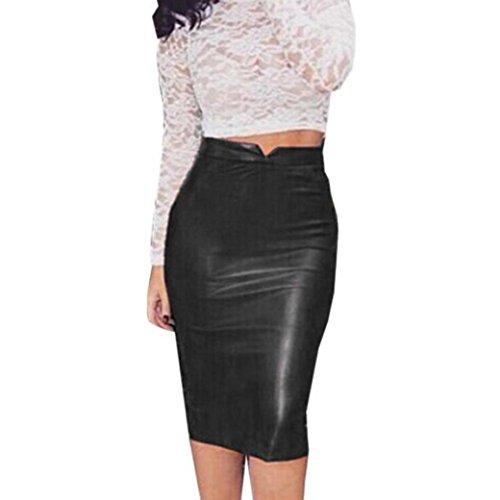 Sixcup Jupe Cuir Femme Vintage Madi Jupe Courte pour Femme Simili PU Cuir Crayon Jupe Taille lastique Moulante Extensible Effet mouill Noir