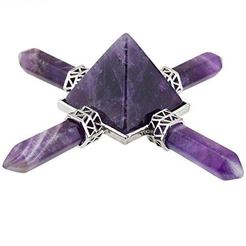 rockcloud Pyramid Energy Generator,Reiki Chakra Healing Crystal Stone,Amethyst (Purple Amethyst Quartz Crystal)