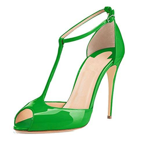 EDEFS Damen T-Spangen Pumps Stiletto Heels Knöchelriemchen Schuhe mit T-Strap Grün