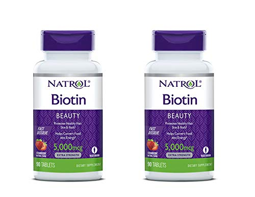 Natrol Biotin 5,000mcg Fast Dissolve, 90 Tablets (Pack of 2)