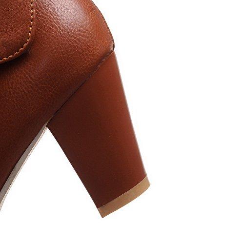 Women's PU Closed High Allhqfashion top Low Solid Boots Brown Heels Round Toe dw7qR5Uq