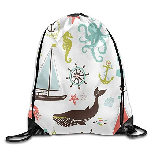 Dicobrune Unisex Drawstring Backpack, The Whale Swam Between The Sailboats Drawstring Gym Sack Sport Bag