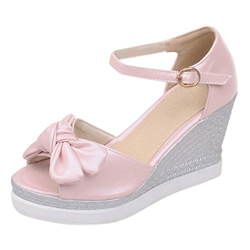 Vitalo Women's High Heel Wedge Platform Sandals with Bow Ladies Ankle Strap Peep Toe Summer Shoes Size 4 B(M) US,Pink