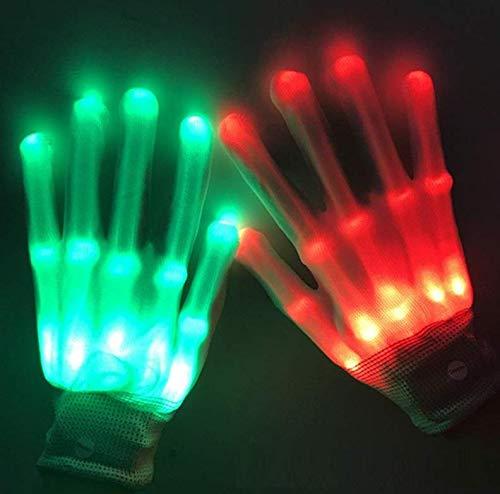 Gants Lumineux LED à Doigts Colorés pour Adulte,Gant Flash Crâne,Cadeaux et Jouets pour Hommes et femmes - Noël, Carnaval, Fête, Festival, Éclairage de Costumes, Jouets(Colorée-10ans+/adultes)