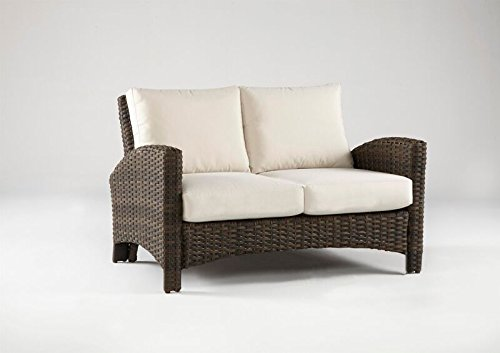 South Sea Rattan Panama Collection Loveseat with Cushions, Aquamarine