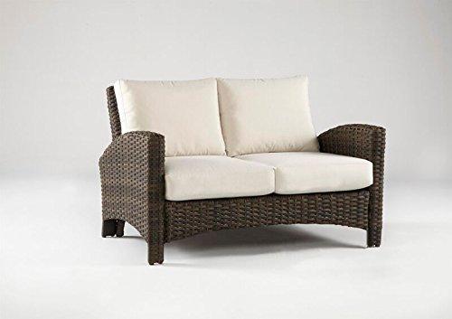 South Sea Rattan Panama Collection Loveseat with Cushions, Aquamarine