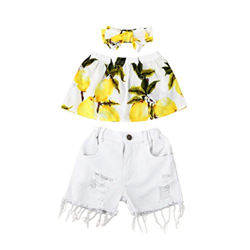 Jchen for 0-6 T Kids, (TM) 2PCS Toddler Kids Baby Girl Summer Set Off Shoulder Tops+Demin Shorts Pants Outfits (Age: 1-2 Years Old, Yellow)