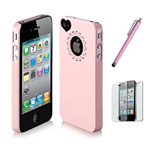 SODIAL(R) Rosa - Funda Rigida Lustrosa Ultrafina para iPhone 4 4S + Protector de Pantalla + Lapiz Tactil Rosa