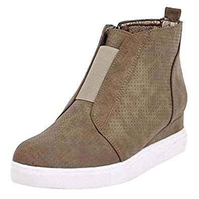 BeiaMina Women Casual Wedge Heel Pumps High Top Boots Round Toe Travel Shoes Mid Heel Apricot Size 32 Asian