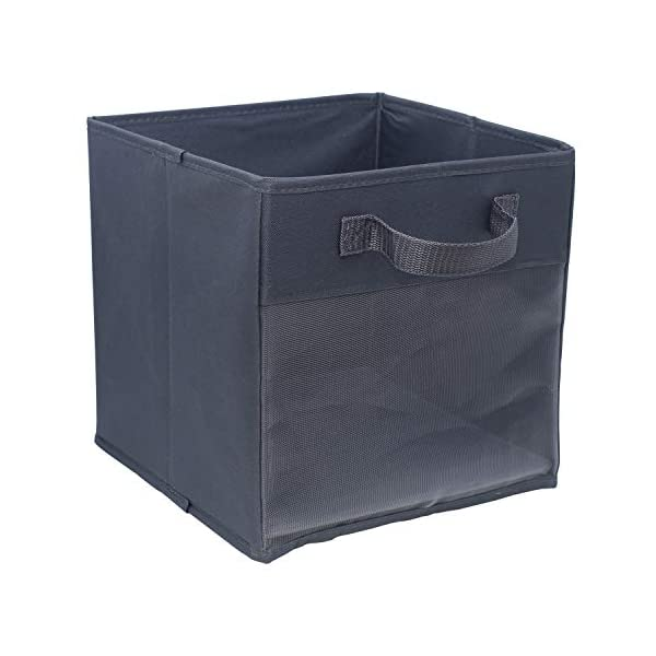 EASYVIEW Storage Basket Cube Bins with Clear View Mesh Side, 2-Handles All Woven Oxford Nylon Bin, Foldable, Dark Grey