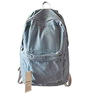 College School Denim Backpack Student Laptop Backpack for School for Teenage