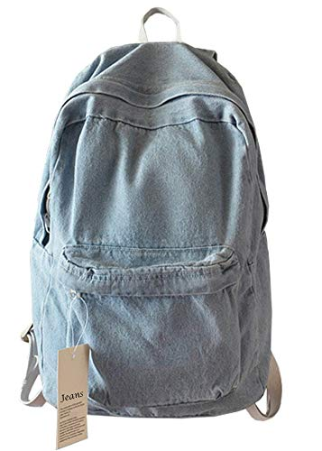 College School Bags Backpacks Girls Denim Cute Bookbags Student Backpack School Laptop Backpack Bag Pack Super Cute for School for Teenage (Light Blue)