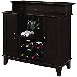 Coaster Transitional Cappuccino Bar Unit with Wine and Stemware Storage