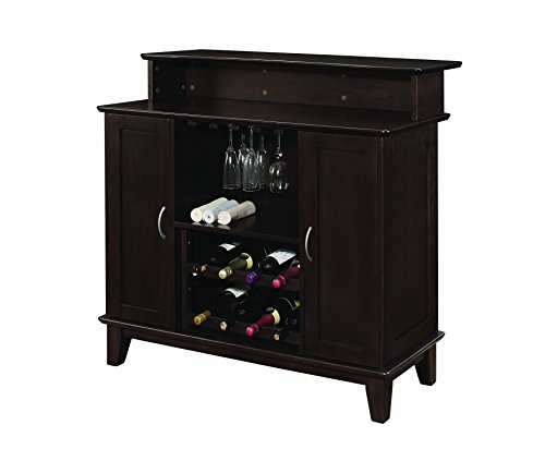 Bellacor Plastic Sconce - 2-door Bar Unit with Wine and Stemware Storage Cappuccino