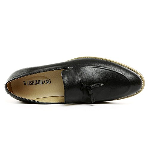 Santimon Men Leather Penny-Loafers Slip-on Low Heels Shoes Black SoI8ah4SY