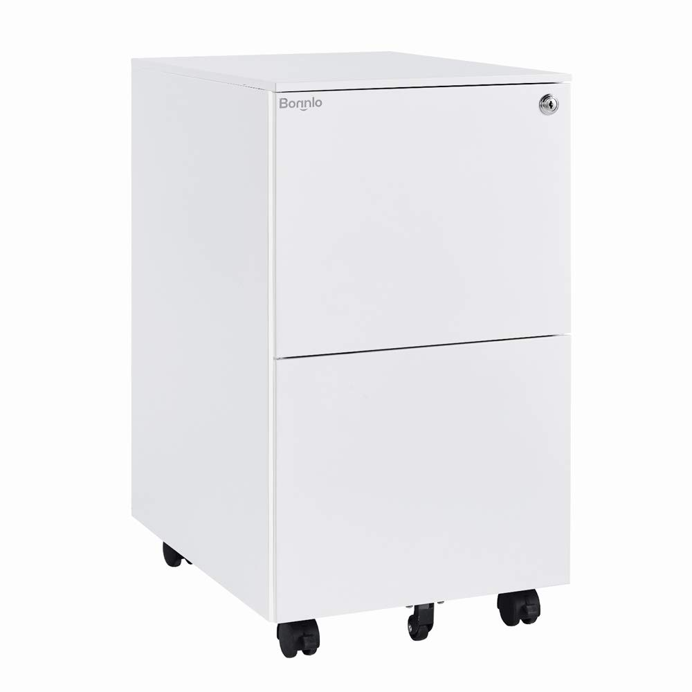 Bonnlo 2-Drawer Rolling File Cabinet with Lock Metal Office Drawer Cabinet, White by Bonnlo