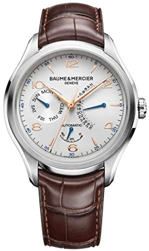 Baume & Mercier Clifton Retrograde Date Mens Automatic Watch - 43mm Analog Silver Face with Week Day and Power Reserve Display - Brown Leather Band Swiss Made Luxury Dress Watches For Men 10149 ()
