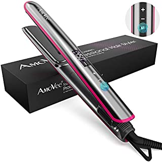 AmoVee Touchscreen Flat Iron 1 Inch Ceramic Tourmaline Hair Straightener and Curler Adjustable Temperature for All Hair Types Instant Heat Dual Voltage