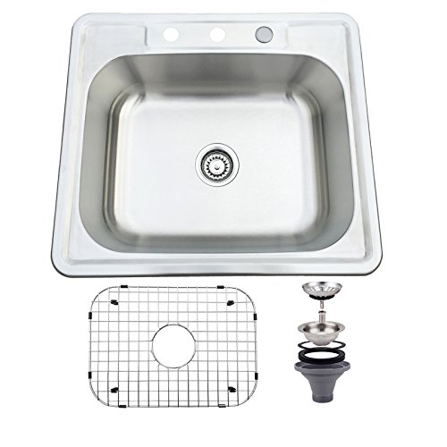 Mecor 25 inch Sink Single Bowl Drop 18 Gauge Stainless Steel Under Mount Kitchen by mecor