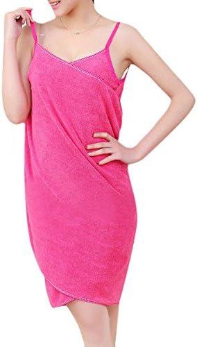 BX-910 Soft Shoulder Straps Lady Wearable Bath Towel Beach Cloth Magic Dress Spa Bathrobe Bath Wrap Skirt Womens Microfiber Bathrobe Bath Towel Skirt Pink Bath Skirt for Women