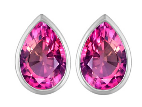 ape Created Pink Sapphire Earrings Studs Sterling Silver (Pear Shape Sapphire Earrings)
