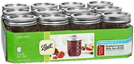 Ball Mason 8oz Jelly Jars Quilted با درب و باند ، مجموعه 12