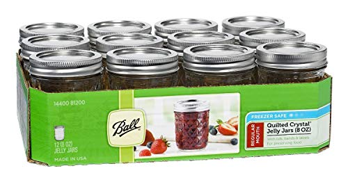 Ball Mason 8oz Quilted Jelly Jars with Lids and Bands Set of 12