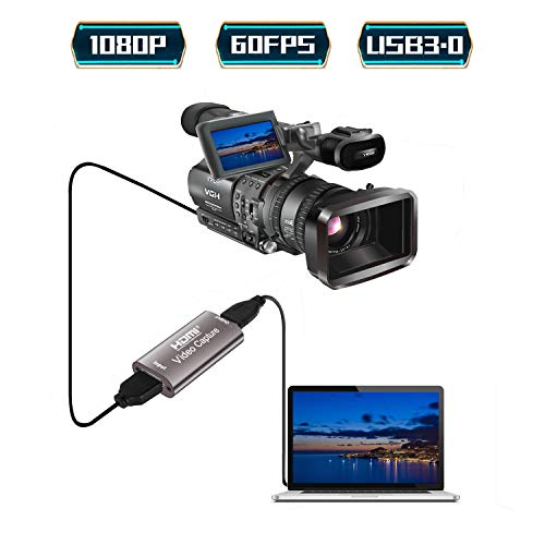XIANREN Audio Video Capture Card HDMI to USB 2.0 1080P — Broadcast Live, Record via DSLR, Camcorder, or Action cam, Compact HDMI Video Capture Device(Coffee)