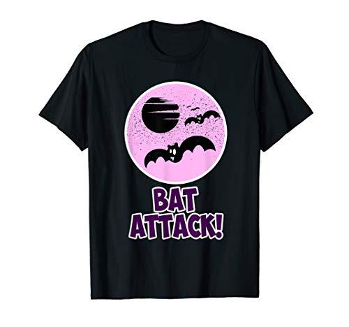 Funny Happy Pink Halloween Bat Attack Women Girls Kids Gift T-Shirt -