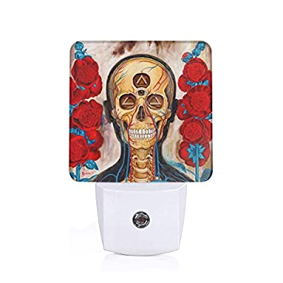 Laoyaotequ Explore Crazy Art Third Eye Skull Roses Plug-in Night Light, Smart Dusk to Dawn Sensor, White LED Nightlight, Bedroom Bathroom Hallway Kitchen Stairs Kids Nursery