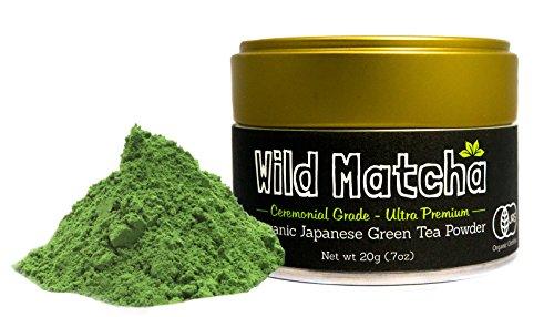 Organic Matcha Green Tea From Japan, Wild Matcha, Ceremonial Grade, JAS Organic (20 gram - 1st Harvest Ultra-Premium)