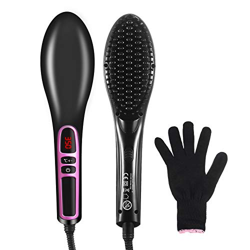 HOCOSY Ionic Hair Straightener Brush, Anti-scald Electric Straightening Comb with Ceramic Heating, 250℉-390℉ Adjustable & Auto-Off Function Hair Brush, Portable Hair Comb for Thick & Frizzy Hair