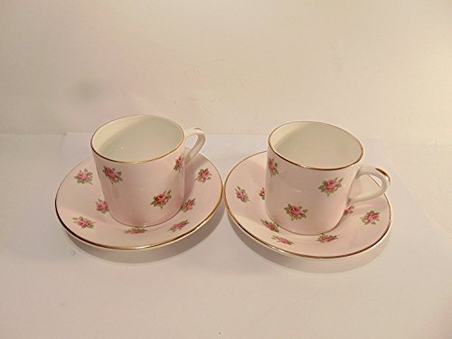 Rosina Bone China Cup (Rosina Fine Bone English China Pale Pink with Roses and Gold Trim Tea Cup and Saucer, Set of 2)