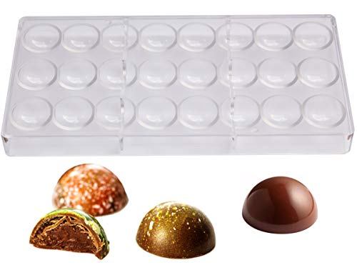(Polycarbonate Chocolate Mold by NuEmporia for Pralines, Truffles, Sweets, Candies, Bonbons. 24 pcs Semi-Sphere Shape. Food Safe, BPA-Free Polycarbonate Plastic. Easy To Release and To Clean)