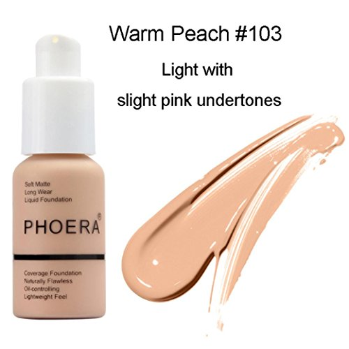 Oksale New 30ml PHOERA Matte Oil Control Concealer Foundation Cream Liquid Foundation (#103)