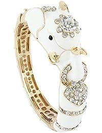 Women's Austrian Crystal Enamel Adorable Elephant Bangle Bracelet