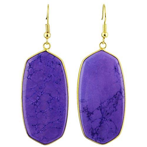 SUNYIK Women's Purple Howlite Turquoise Oval Dangle Earrings Gold Plated