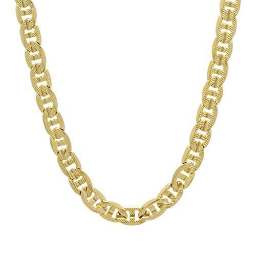 The Bling Factory Men's 7mm 14k Gold Plated Pressed Mariner Chain Necklace, 24