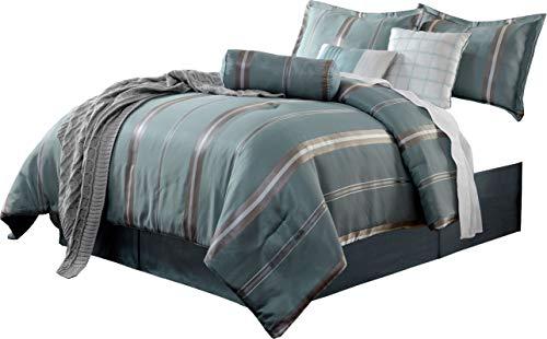 Park Avenue Comforter Set - Park Avenue 7pc Comforter Set Stripes Blue White Complete Bedding set Milieu Blue, Chrome Colors Silky Fabric Bed Cover