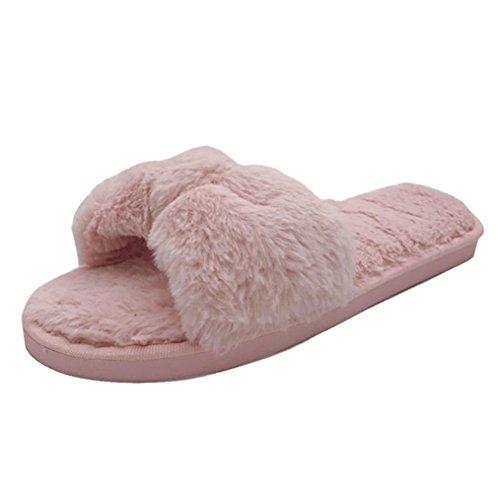 Damen Flip Flop, SHOBDW Damen Damen Slip On Sliders Flauschige Faux Pelz Flache Pantoffel Flip Flop Sandale Rosa