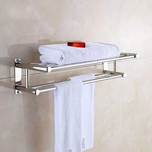 Amazon Com Bathroom Towel Bar 2 Tier Stainless Steel Towel Holder Solid Polished Chrome Bath Towel Rack Luxury Wall Towel Shelf For Home Hotel 23 62x 8 67x 6 1inch Kitchen Dining