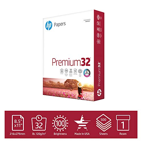 HP Printer Paper Premium 32lb,  8.5x 11, 1 Ream, 500 Sheets, Made in USA From Forest Stewardship Council (FSC) Certified Resources, 100 Bright, Acid Free, Engineered for HP Compatibility, 113100R