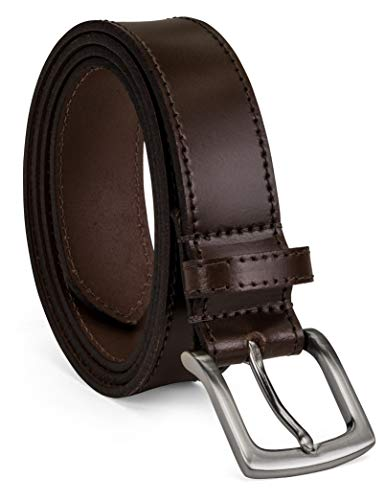 Colonial Finish - Colonial Belt Company Men's Made in The USA Casual Leather Jean Belt, brown/Self stitch, 36