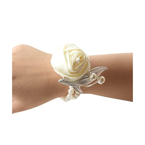 MOJUN Bridal Bridesmaid Wedding Wrist Corsage Party Prom Girls Satin Rose Hand Flower Decor, Pack of 4, Cream
