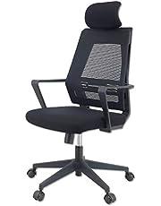 KLIM K300 Office Chair – ergonomiczne krzesło biurowe + miękka poduszka do siedzenia i materiał + w zestawie zagłówek + obciążenie do 135 kg + regulowane krzesło do biura i domu + nowość 2021