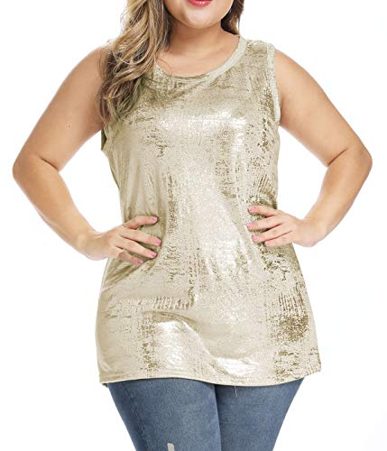 JUNSICHE Women Plus Size Sparkle Shimmer Scoop-Neck Sleeveless Tank Top Shirt (Gold, 2X-Large)