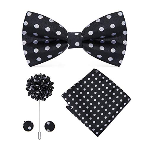 ite Dot Silk Bow Tie Lapel Pin and Hankerchief Set for Men ()